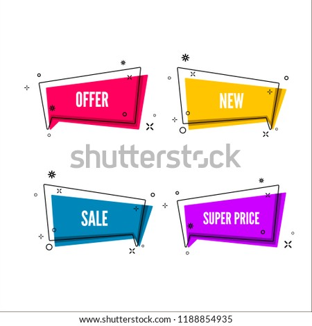 Abstract offers banner.  Colorful bubble with promotion text. Set of geometric promo template. Vector illustration