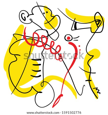 abstract one line contemporary composition, black, yellow and red, surreal minimalistic outline person with monkey and sea horse