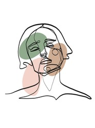Abstract one line continuous face. Contemporary drawing in modern cubism style. Portrait of a woman face with different geometric elements of pastel colors - pink, green, brown
