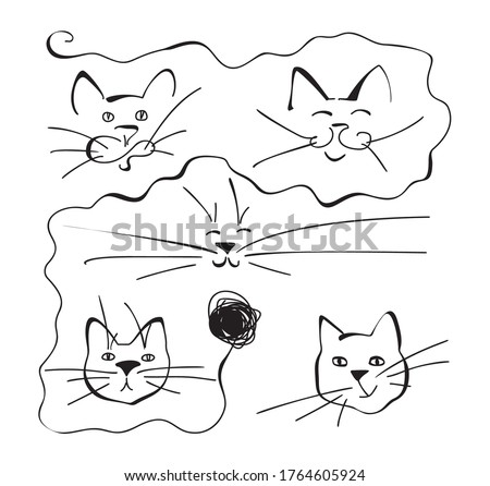abstract one line drawing cat