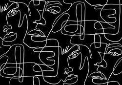 Abstract one line seamless pattern. Continuous Outline background with female faces. Modern Woman aesthetic contour. Fashion print. Stylized printable design in sketch, doodle style. Surreal texture.