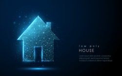 Abstract one storey country house. Low poly style design. Abstract geometric background. Wireframe light connection structure. Modern 3d graphic concept. Isolated vector illustration.