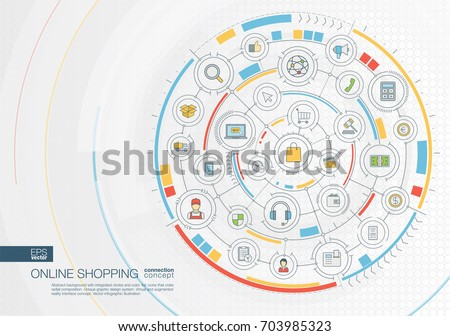 Abstract online shopping background. Digital connect system with integrated circles, color flat icons. Radial graphic design interface. Ecommerce, market sales concept. Vector infographic illustration