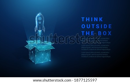 Abstract open box and rocket launch. Think outside the box. Low poly style design. Geometric background. Wireframe light connection structure. Modern 3d graphic concept. Isolated vector illustration. Photo stock ©