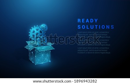 Abstract open box with cog wheels. Low poly style design. Geometric background. Wireframe light connection structure. Modern 3d graphic concept. Isolated vector illustration.