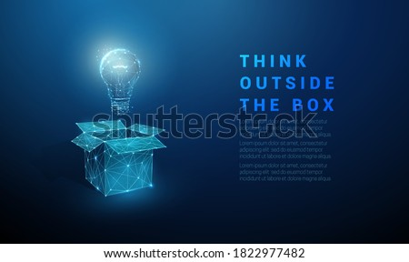 Abstract open box with light bulb. Think outside the box. Low poly style design. Geometric background. Wireframe light connection structure. Modern 3d graphic concept. Isolated vector illustration