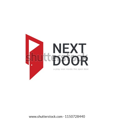 Abstract Open red door with hidden play icon