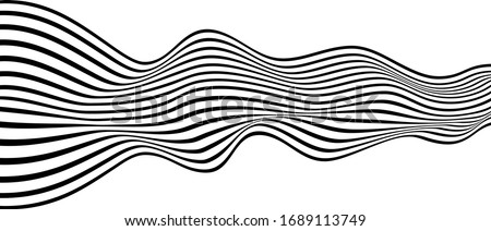 abstract optical art. Wave of many black lines.