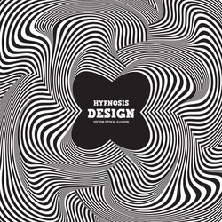Abstract optical illusion. Hypnotic curved spiral design concept for banner, poster. Vector black - white striped background. Infinity and chaos wavy pattern.