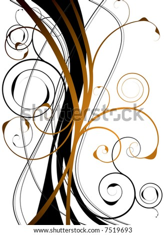 abstract orange and black background with a floral theme