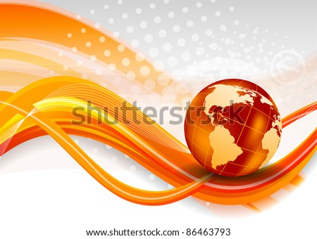 Abstract orange background with globe