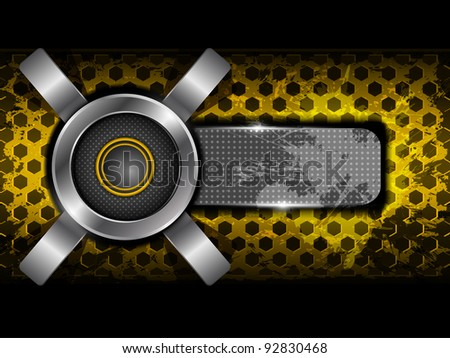 Abstract orange background with metallic circle speaker and hexagon perforated pattern plate. Part of set. Vector art.