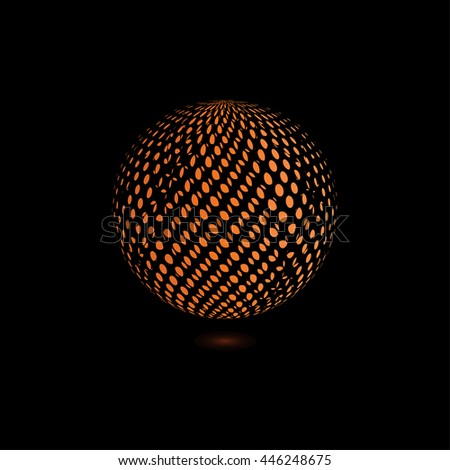 abstract orange dots. black background. logo design. #446248675