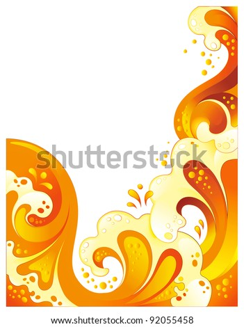 Abstract orange drink background. Curled splash juice isolated on white