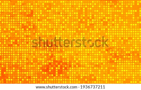 Abstract Orange geometric Background, Creative Design Templates. Pixel art Grid Mosaic tile. Orange grain checkered background with red vignette. Seamless color mosaic texture. Vector illustration