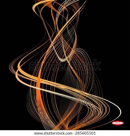 abstract orange line beige wave