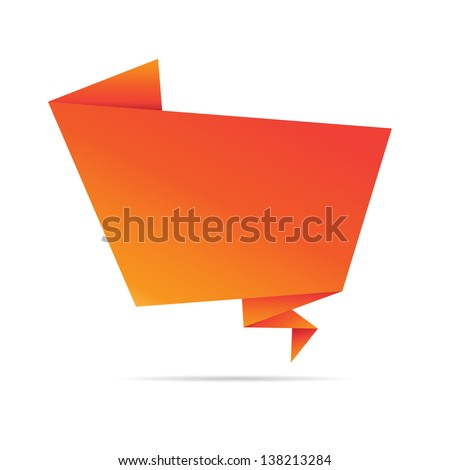 Abstract orange origami speech bubble.Vector abstract background.