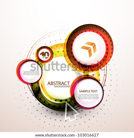 Abstract orange web banner made of circles - stock vector