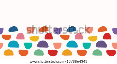 Abstract organic cut out half circle shape. Vector border pattern seamless background. Hand paper cutting matisse style. Collage  illustration. Trendy kid fashion edge stripe trim. Tossed fun colors.