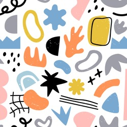 Abstract organic shape seamless pattern, random flat cartoon doodles in trendy contemporary art style. Freehand childish scribble background for textile, print or fashion backdrop.