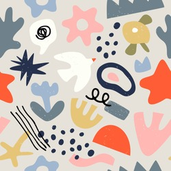 Abstract organic shape seamless pattern, random flat cartoon doodles in trendy contemporary art style. Bird, flowers and freehand childish scribble background. For textile, print or fashion backdrop.