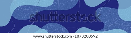 Abstract organic vector shapes, stains, lines. Winter, blue elements for Christmas template, cover, banner, greeting card, frame, background. Modern graphics for holiday, business. Simple design stock photo