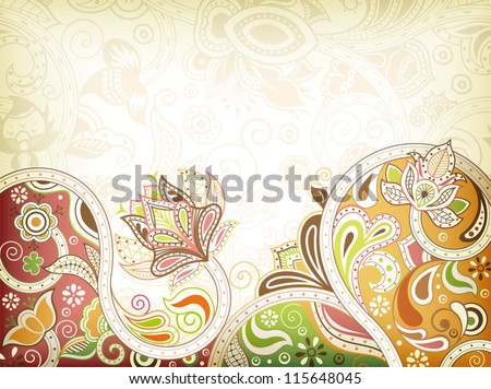 Abstract Oriental Floral Background