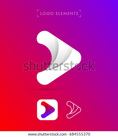 Abstract origami arrow logo. Material design style. Play application icon