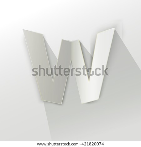 Abstract Origami Bold Typeface Vector Design Of A Small W