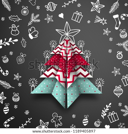 Abstract origami Christmas tree with doodles on black chalkboard background, vector illustration, eps 10 with transparency