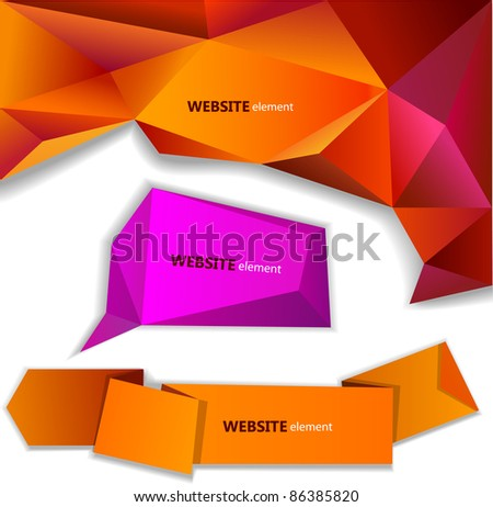 Abstract origami paper banner. Website element