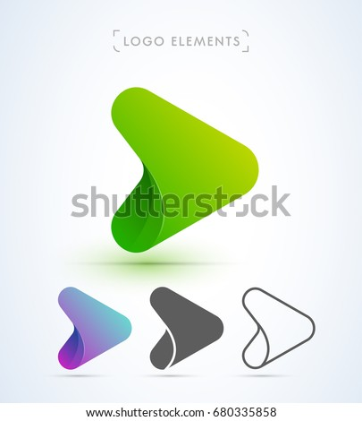 Abstract origami Play button logo in material design style. Application icon