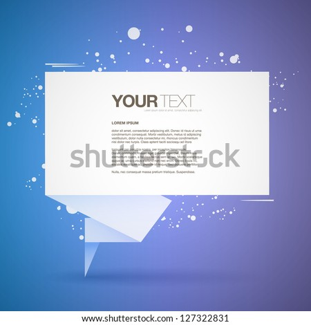Abstract origami speech bubble text box vector