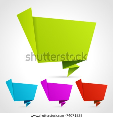 Abstract origami speech bubble vector backgrounds set. Eps 10.