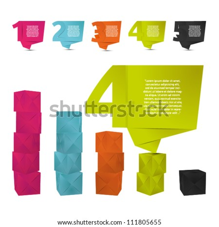 Abstract origami speech bubble with letters vector backgrounds set and diagram paper boxes Eps 10.