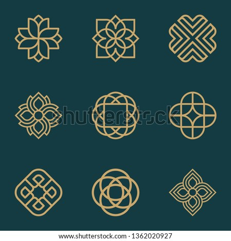 Abstract ornament logo icon vector design bundle. Elegant premium ornament vector logotype symbol.