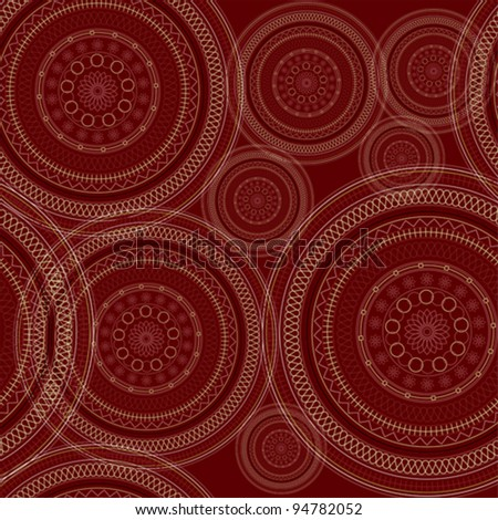 abstract ornament wallpaper pattern with circles, vector - stock vector