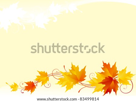 Abstract ornate background with red, yellow and orange maple leaves