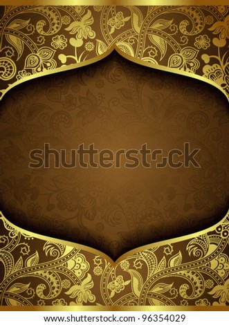 Abstract Ornate Gold Floral Background - stock vector