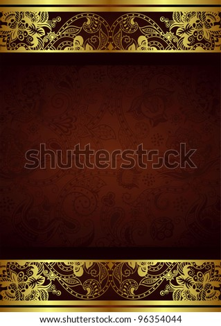 Abstract Ornate Gold Floral Background