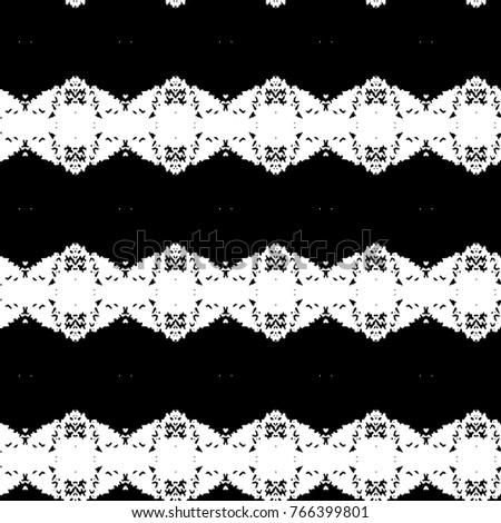 Abstract ornate psychedelic seamless pattern. Black and white grunge texture.