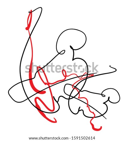 abstract outline contemporary composition, black and red lines with modern surreal minimalistic outline pattern