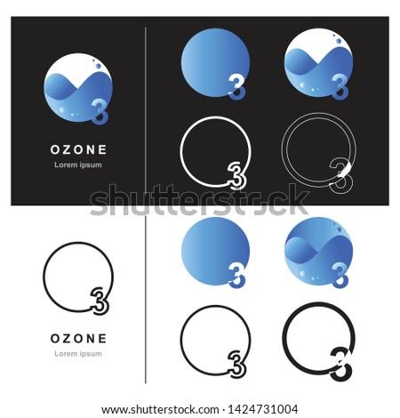 Abstract ozone logo design, Decorative ozone logo design, Design of ozone logo, Vector illustration, Vector graphic design of unique ozone logo