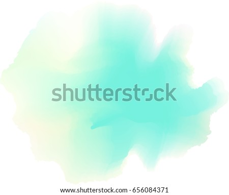 Abstract painted watercolor. Mint green and yellow sea foam painting backdrop. Vector