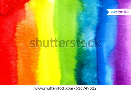 Abstract painting background. Watercolor rainbow. Hand drawn, paper texture. Vector. Colorful. Red, orange, yellow, green, blue, indigo, violet, purple, white colors. Web, website, mobile template