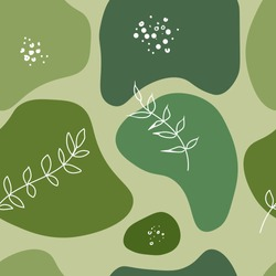abstract painting in shades of green trees and nature. seamless pattern background, thick brush strokes and thin lines, vector illustration.