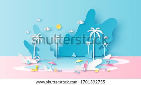 Abstract paper art of summer sea scenery with sea water splashing and beach equipment on beach. Sea landscape. Summer time. Paper cut and craft style. vector, illustration.