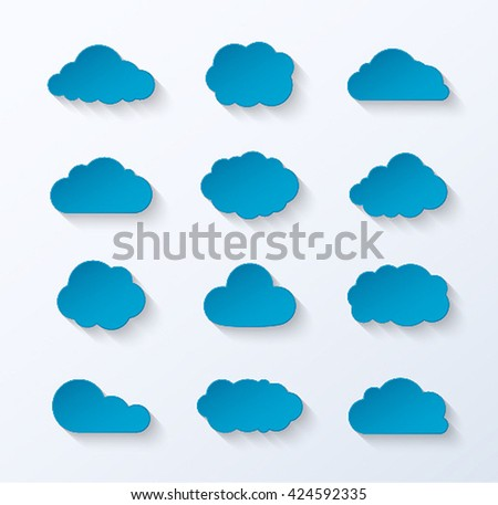 abstract paper clouds set