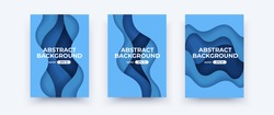 Abstract paper cut covers. Vertical banners, brochures, posters. Water template. Simple realistic design. Beautiful background. Flat style vector eps10 illustration. Blue color.