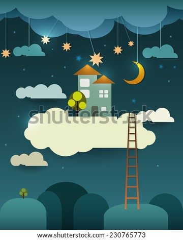 Abstract paper cut-fantasy home sweet home -moon with stars-cloud and sky at night .Blank cloud for your text design